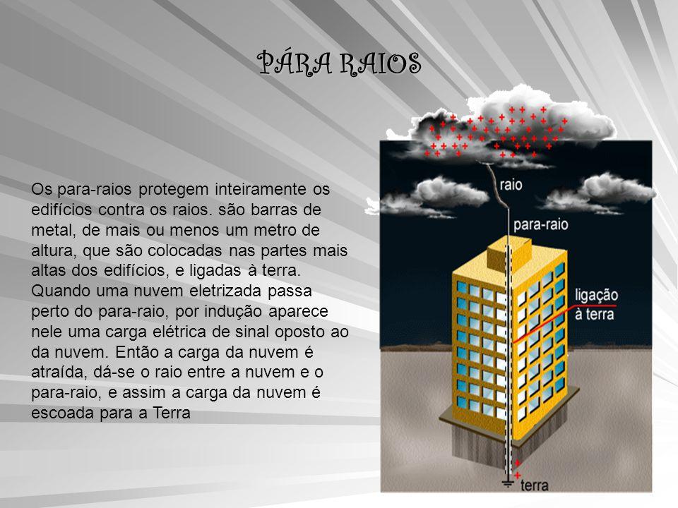 PÁRA RAIOS Os para-raios protegem inteiramente os edifícios contra os raios.