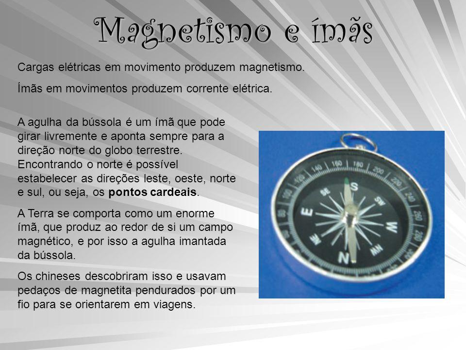 Magnetismo e ímãs Cargas elétricas em movimento produzem magnetismo.