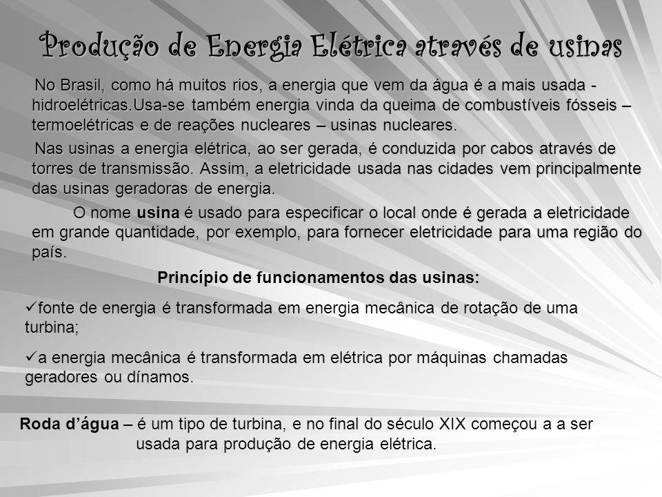 Produção de Energia Elétrica através de usinas No Brasil, como há muitos rios, a energia que vem da água é a mais usada - hidroelétricas.Usa-se também energia vinda da queima de combustíveis fósseis – termoelétricas e de reações nucleares – usinas nucleares.