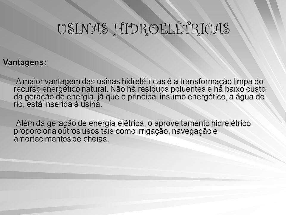 USINAS HIDROELÉTRICAS Vantagens: A maior vantagem das usinas hidrelétricas é a transformação limpa do recurso energético natural.