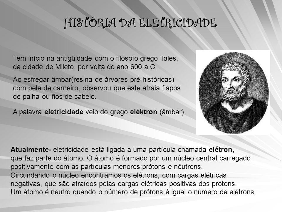 HISTÓRIA DA ELETRICIDADE Tem início na antigüidade com o filósofo grego Tales, da cidade de Mileto, por volta do ano 600 a.C.