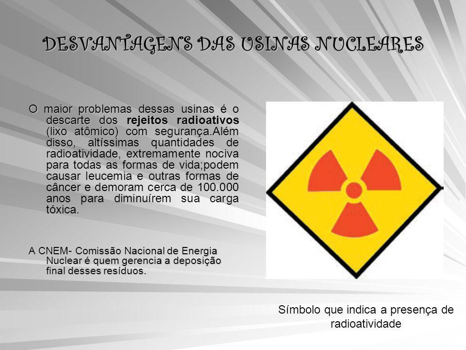 DESVANTAGENS DAS USINAS NUCLEARES O maior problemas dessas usinas é o descarte dos rejeitos radioativos (lixo atômico) com segurança.Além disso, O maior problemas dessas usinas é o descarte dos rejeitos radioativos (lixo atômico) com segurança.Além disso, altíssimas quantidades de radioatividade, extremamente nociva para todas as formas de vida;podem causar leucemia e outras formas de câncer e demoram cerca de 100.000 anos para diminuírem sua carga tóxica.