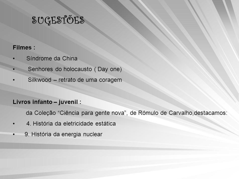 SUGESTÕES Filmes : Síndrome da China Senhores do holocausto ( Day one) Silkwood – retrato de uma coragem Livros infanto – juvenil : da Coleção Ciência para gente nova, de Rómulo de Carvalho,destacamos: 4.