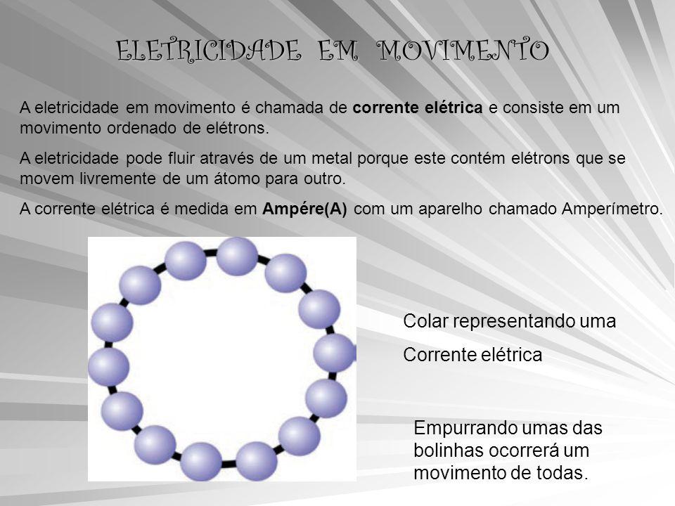ELETRICIDADE EM MOVIMENTO A eletricidade em movimento é chamada de corrente elétrica e consiste em um movimento ordenado de elétrons.