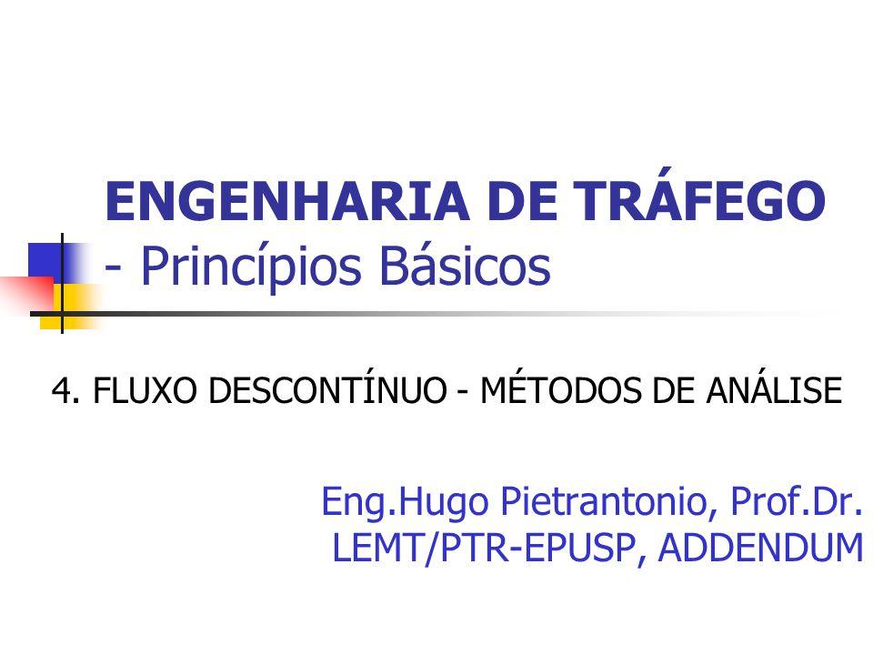 ENGENHARIA DE TRÁFEGO - Princípios Básicos 4. FLUXO DESCONTÍNUO - MÉTODOS DE ANÁLISE Eng.Hugo Pietrantonio, Prof.Dr. LEMT/PTR-EPUSP, ADDENDUM