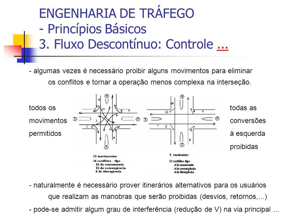 ENGENHARIA DE TRÁFEGO - Princípios Básicos 3. Fluxo Descontínuo: Controle...... - algumas vezes é necessário proibir alguns movimentos para eliminar o