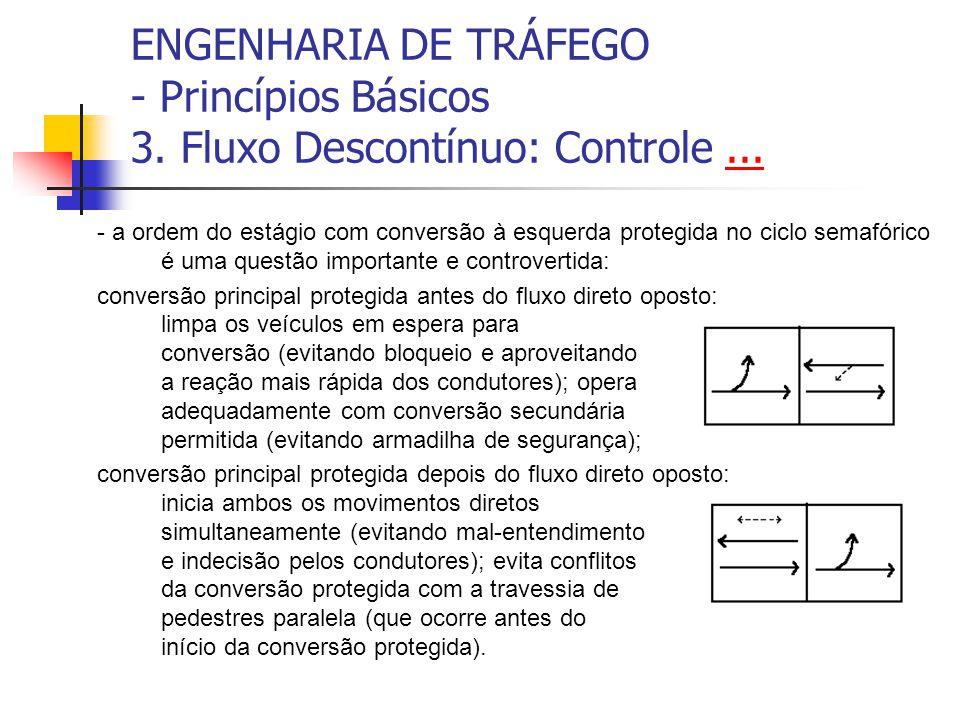 ENGENHARIA DE TRÁFEGO - Princípios Básicos 3. Fluxo Descontínuo: Controle...... - a ordem do estágio com conversão à esquerda protegida no ciclo semaf