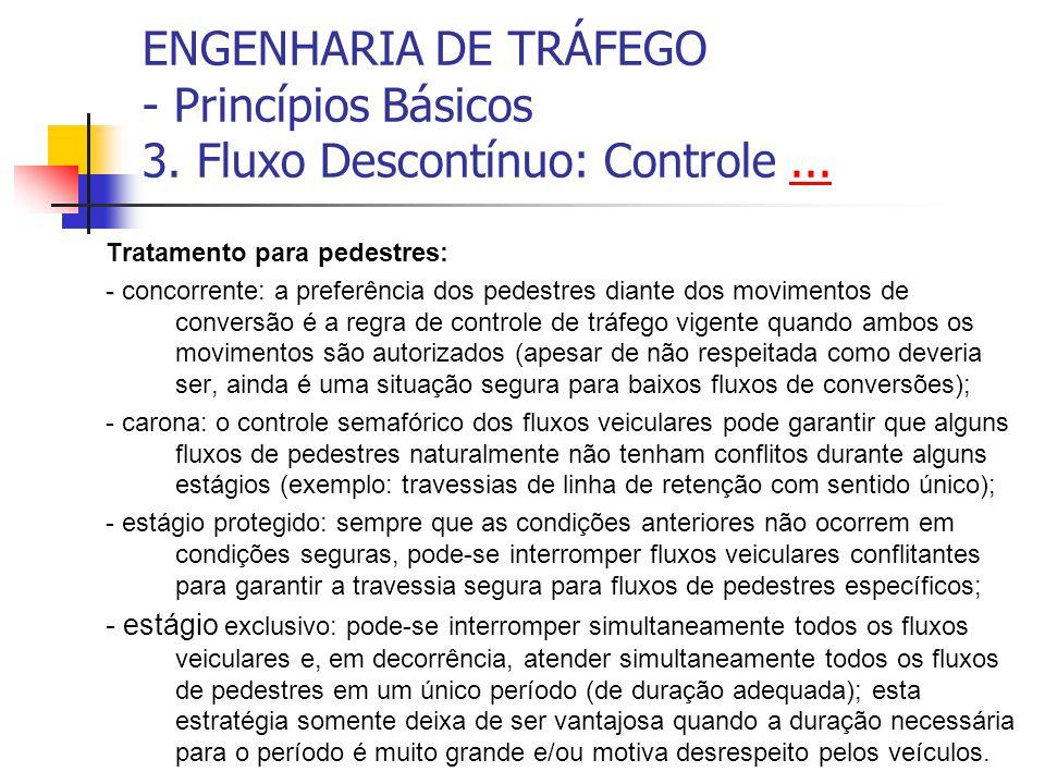 ENGENHARIA DE TRÁFEGO - Princípios Básicos 3. Fluxo Descontínuo: Controle...... Tratamento para pedestres: - - concorrente: a preferência dos pedestre