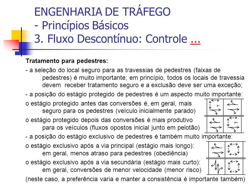 ENGENHARIA DE TRÁFEGO - Princípios Básicos 3. Fluxo Descontínuo: Controle...... Tratamento para pedestres: - - a seleção do local seguro para as trave