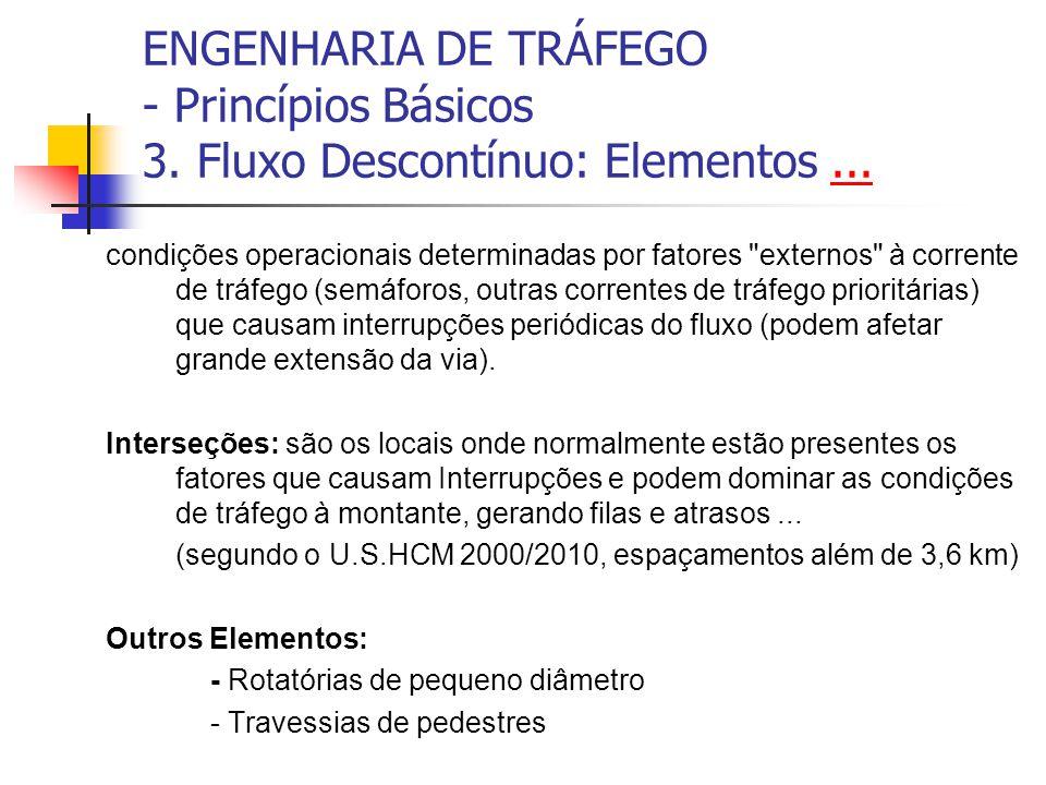 ENGENHARIA DE TRÁFEGO - Princípios Básicos 3. Fluxo Descontínuo: Elementos...... condições operacionais determinadas por fatores