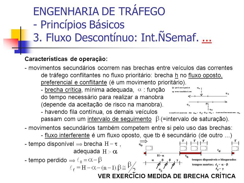 ENGENHARIA DE TRÁFEGO - Princípios Básicos 3. Fluxo Descontínuo: Int.ÑSemaf....... Características de operação: - movimentos secundários ocorrem nas b