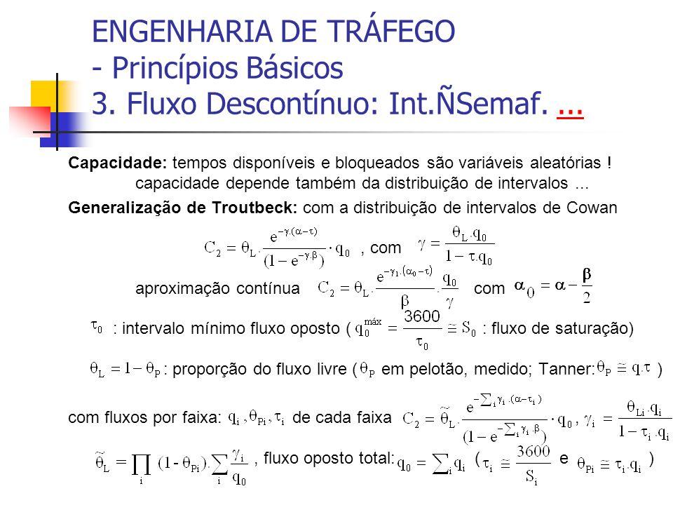 ENGENHARIA DE TRÁFEGO - Princípios Básicos 3. Fluxo Descontínuo: Int.ÑSemaf....... Capacidade: tempos disponíveis e bloqueados são variáveis aleatória