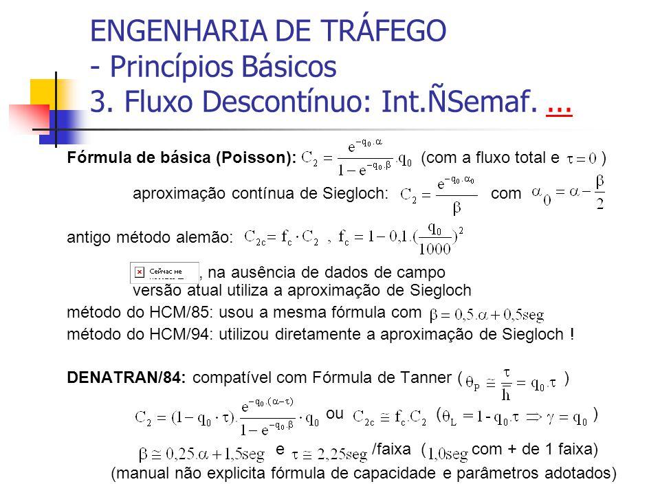 ENGENHARIA DE TRÁFEGO - Princípios Básicos 3. Fluxo Descontínuo: Int.ÑSemaf....... Fórmula de básica (Poisson): (com a fluxo total e ) aproximação con