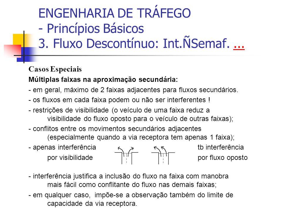 ENGENHARIA DE TRÁFEGO - Princípios Básicos 3. Fluxo Descontínuo: Int.ÑSemaf....... Casos Especiais Múltiplas faixas na aproximação secundária: - - em