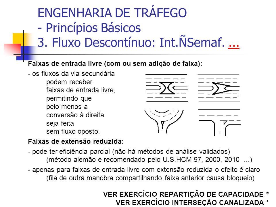 ENGENHARIA DE TRÁFEGO - Princípios Básicos 3. Fluxo Descontínuo: Int.ÑSemaf....... Faixas de entrada livre (com ou sem adição de faixa): - - os fluxos