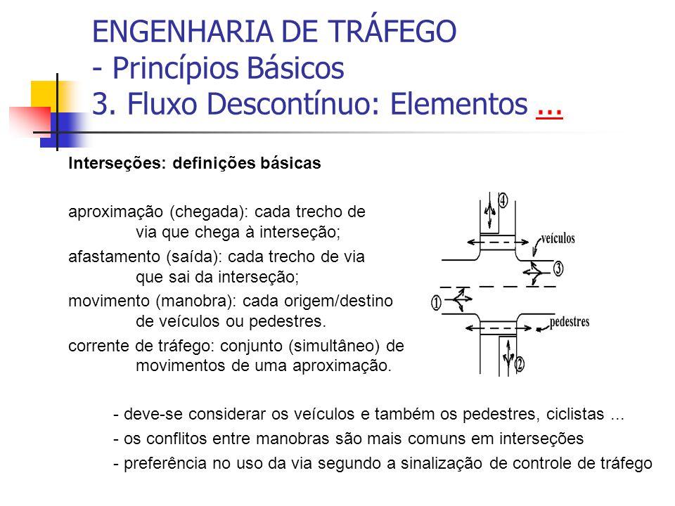ENGENHARIA DE TRÁFEGO - Princípios Básicos 3. Fluxo Descontínuo: Elementos...... Interseções: definições básicas aproximação (chegada): cada trecho de