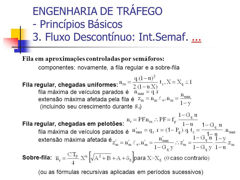 ENGENHARIA DE TRÁFEGO - Princípios Básicos 3. Fluxo Descontínuo: Int.Semaf....... Fila em aproximações controladas por semáforos: componentes: novamen