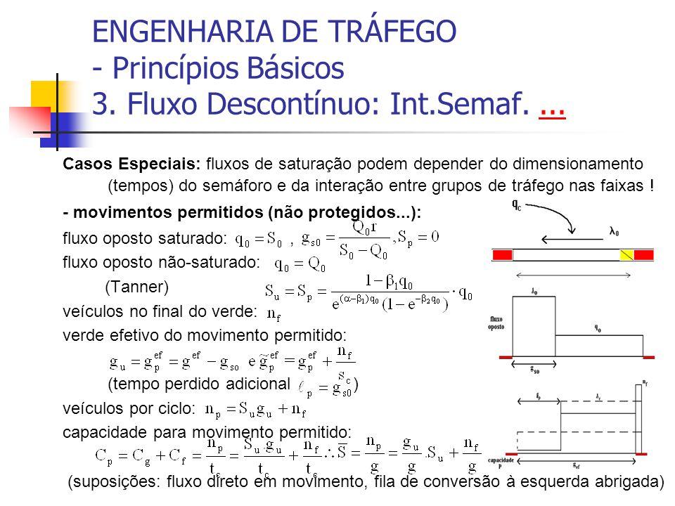 ENGENHARIA DE TRÁFEGO - Princípios Básicos 3. Fluxo Descontínuo: Int.Semaf....... Casos Especiais: fluxos de saturação podem depender do dimensionamen