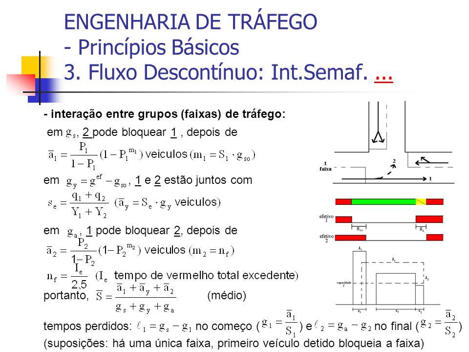 ENGENHARIA DE TRÁFEGO - Princípios Básicos 3. Fluxo Descontínuo: Int.Semaf....... - interação entre grupos (faixas) de tráfego: em, 2 pode bloquear 1,