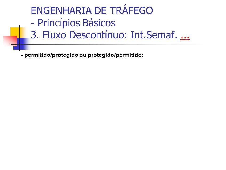 ENGENHARIA DE TRÁFEGO - Princípios Básicos 3. Fluxo Descontínuo: Int.Semaf....... - permitido/protegido ou protegido/permitido: