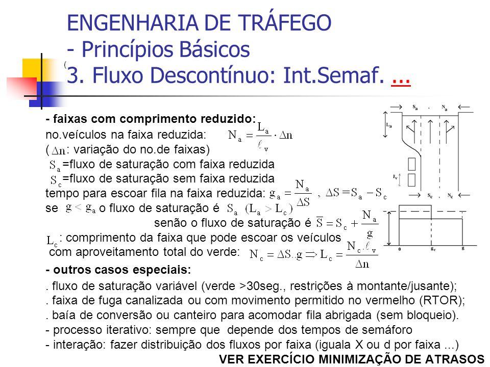 ENGENHARIA DE TRÁFEGO - Princípios Básicos 3. Fluxo Descontínuo: Int.Semaf....... - faixas com comprimento reduzido: no.veículos na faixa reduzida: (