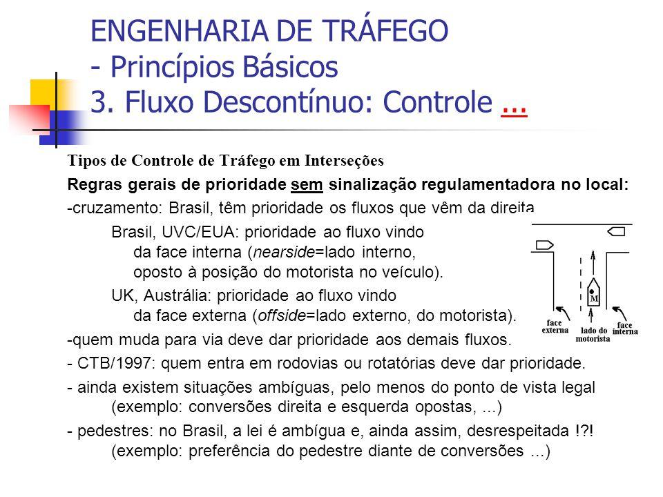 ENGENHARIA DE TRÁFEGO - Princípios Básicos 3. Fluxo Descontínuo: Controle...... Tipos de Controle de Tráfego em Interseções Regras gerais de prioridad
