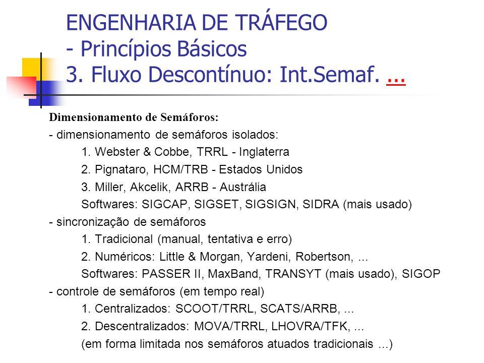 ENGENHARIA DE TRÁFEGO - Princípios Básicos 3. Fluxo Descontínuo: Int.Semaf....... Dimensionamento de Semáforos: - dimensionamento de semáforos isolado