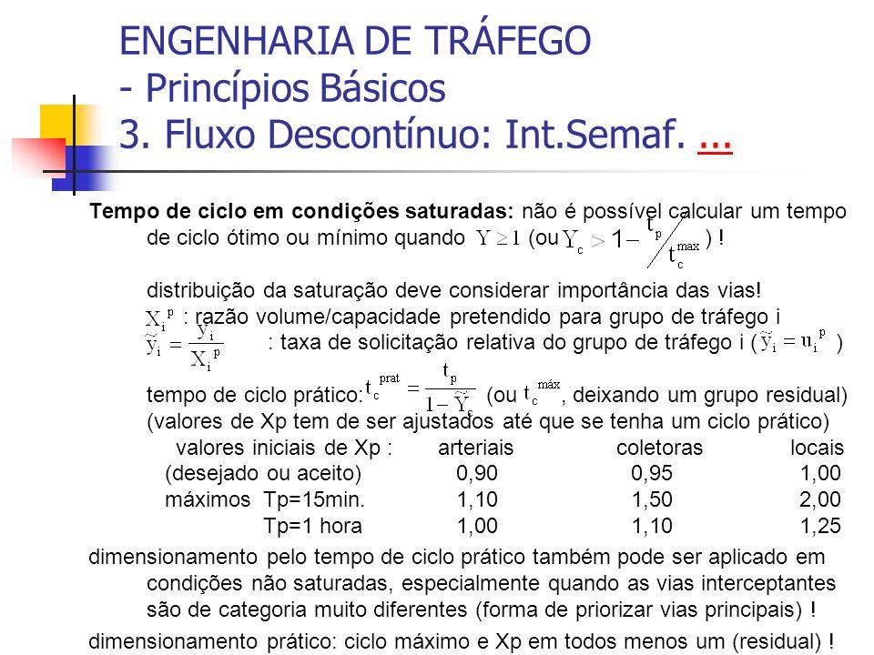 ENGENHARIA DE TRÁFEGO - Princípios Básicos 3. Fluxo Descontínuo: Int.Semaf....... Tempo de ciclo em condições saturadas: não é possível calcular um te