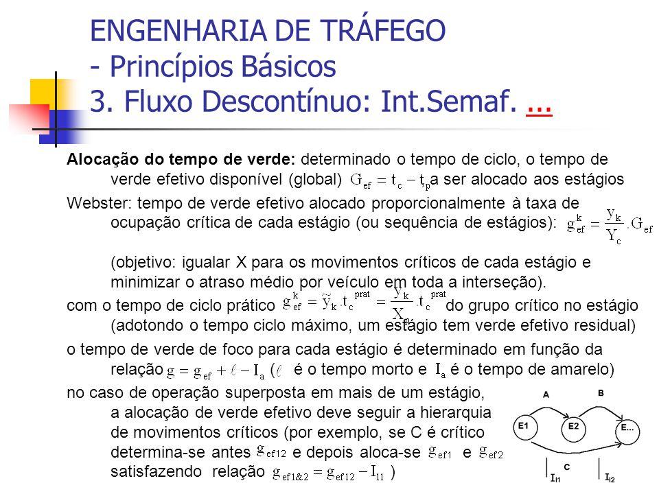 ENGENHARIA DE TRÁFEGO - Princípios Básicos 3. Fluxo Descontínuo: Int.Semaf....... Alocação do tempo de verde: determinado o tempo de ciclo, o tempo de