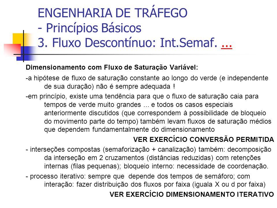 ENGENHARIA DE TRÁFEGO - Princípios Básicos 3. Fluxo Descontínuo: Int.Semaf....... Dimensionamento com Fluxo de Saturação Variável: - -a hipótese de fl