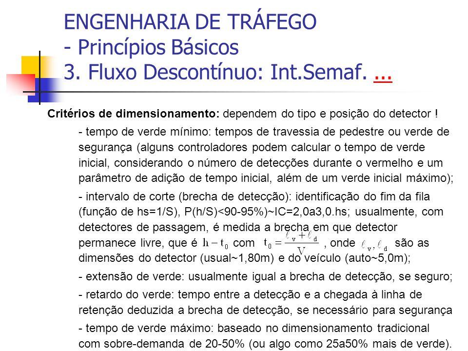 ENGENHARIA DE TRÁFEGO - Princípios Básicos 3. Fluxo Descontínuo: Int.Semaf....... Critérios de dimensionamento: dependem do tipo e posição do detector