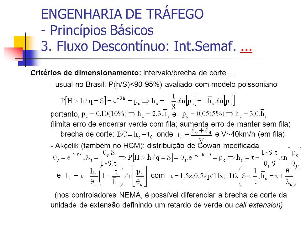 ENGENHARIA DE TRÁFEGO - Princípios Básicos 3. Fluxo Descontínuo: Int.Semaf....... Critérios de dimensionamento: intervalo/brecha de corte... - usual n