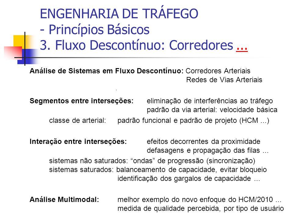 ENGENHARIA DE TRÁFEGO - Princípios Básicos 3. Fluxo Descontínuo: Corredores...... Análise de Sistemas em Fluxo Descontínuo: Corredores Arteriais Redes