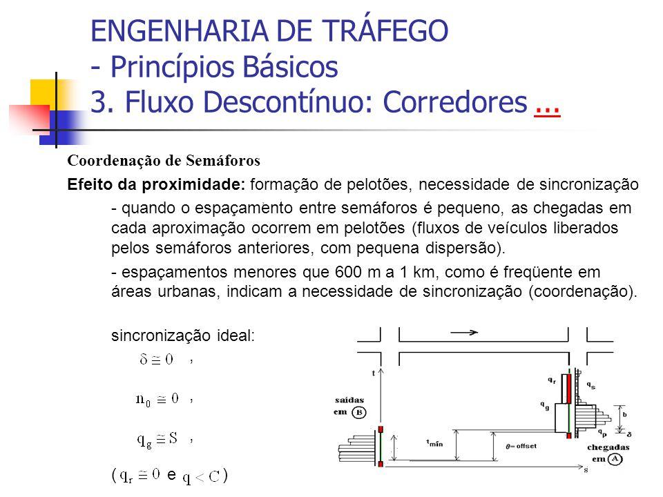 ENGENHARIA DE TRÁFEGO - Princípios Básicos 3. Fluxo Descontínuo: Corredores...... Coordenação de Semáforos Efeito da proximidade: formação de pelotões