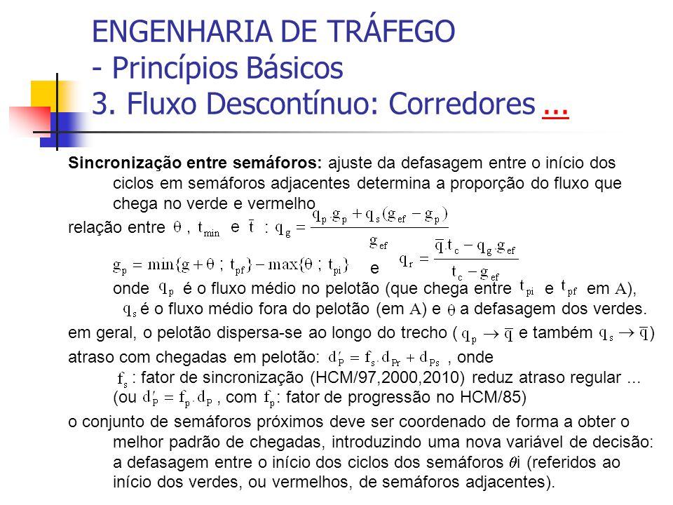 ENGENHARIA DE TRÁFEGO - Princípios Básicos 3. Fluxo Descontínuo: Corredores...... Sincronização entre semáforos: ajuste da defasagem entre o início do