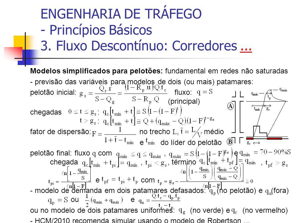 ENGENHARIA DE TRÁFEGO - Princípios Básicos 3. Fluxo Descontínuo: Corredores...... Modelos simplificados para pelotões: fundamental em redes não satura
