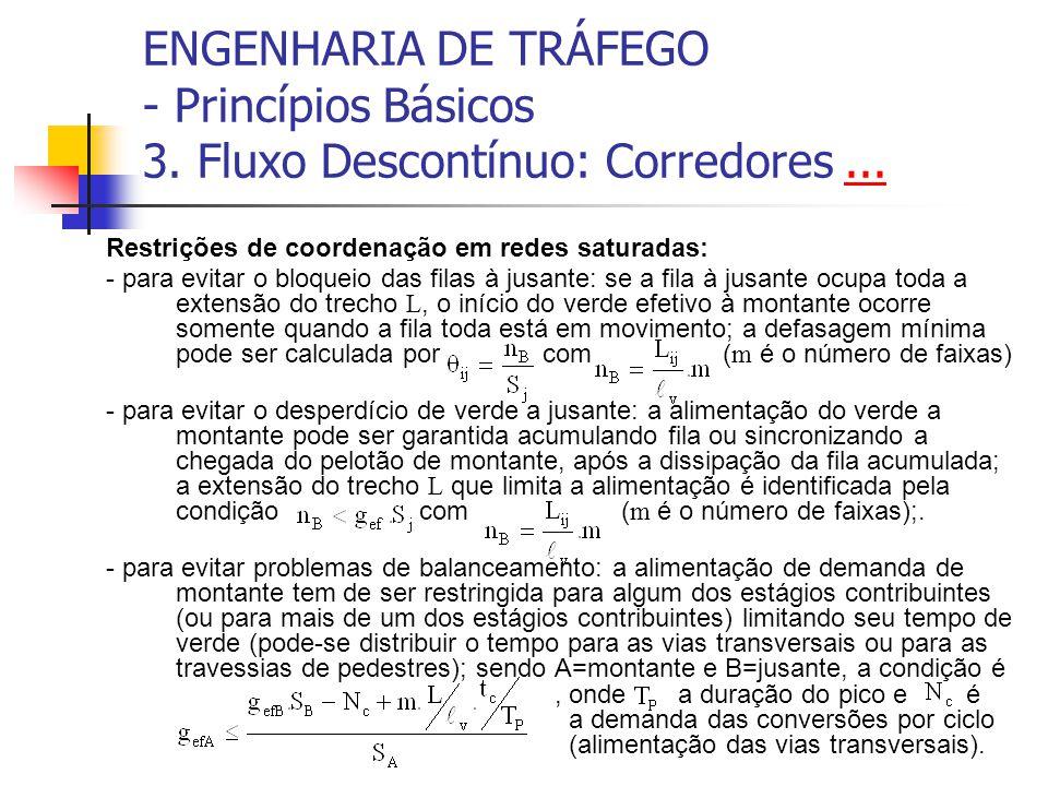 ENGENHARIA DE TRÁFEGO - Princípios Básicos 3. Fluxo Descontínuo: Corredores...... Restrições de coordenação em redes saturadas: - para evitar o bloque
