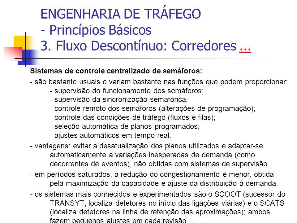 ENGENHARIA DE TRÁFEGO - Princípios Básicos 3. Fluxo Descontínuo: Corredores...... Sistemas de controle centralizado de semáforos: - são bastante usuai