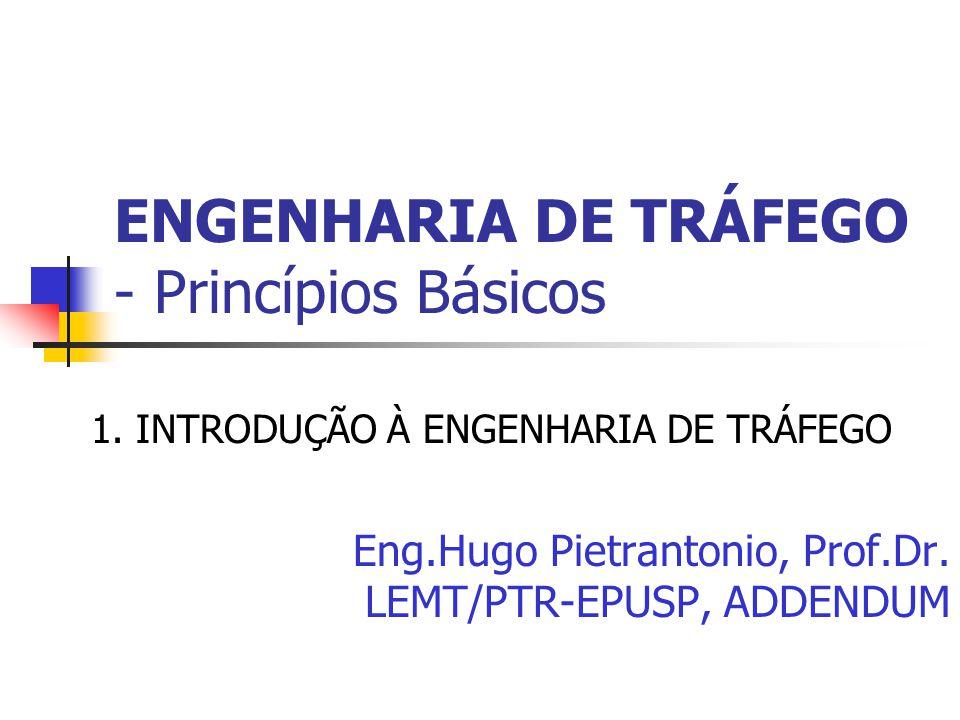 ENGENHARIA DE TRÁFEGO - Princípios Básicos 1. INTRODUÇÃO À ENGENHARIA DE TRÁFEGO Eng.Hugo Pietrantonio, Prof.Dr. LEMT/PTR-EPUSP, ADDENDUM