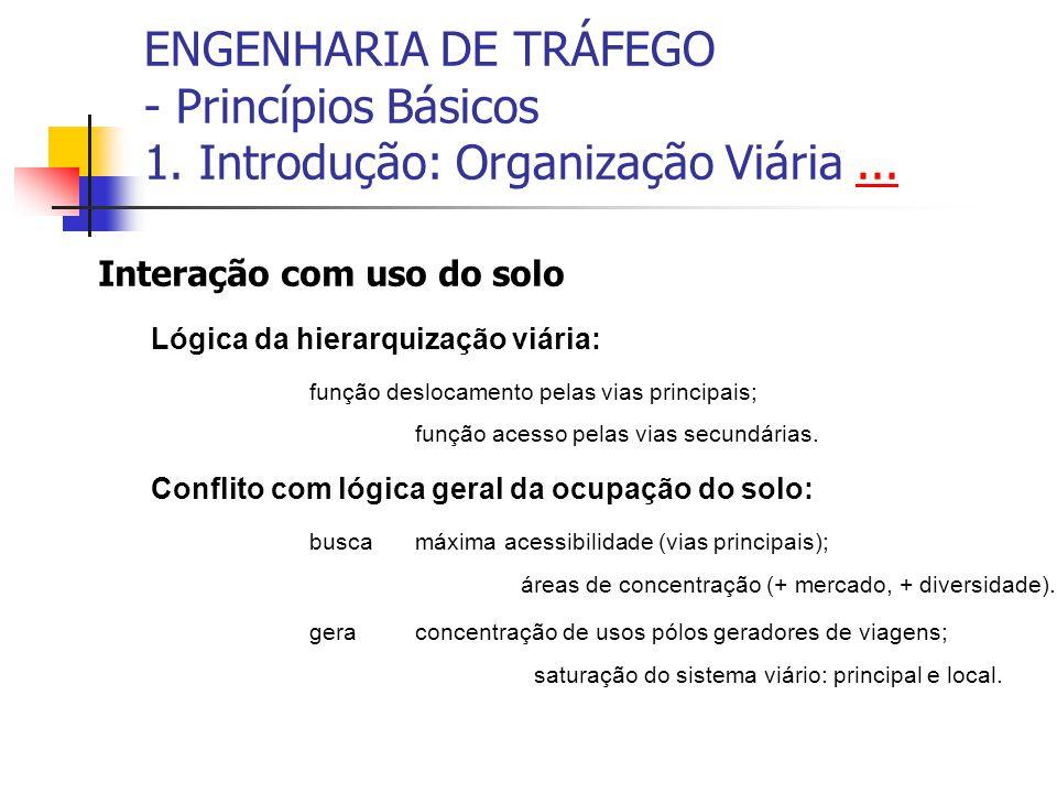 ENGENHARIA DE TRÁFEGO - Princípios Básicos 1. Introdução: Organização Viária...... Interação com uso do solo Lógica da hierarquização viária: função d