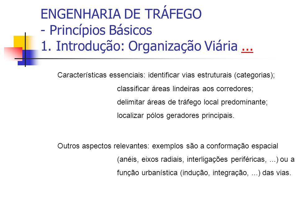 ENGENHARIA DE TRÁFEGO - Princípios Básicos 1. Introdução: Organização Viária...... Características essenciais: identificar vias estruturais (categoria