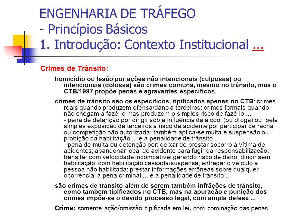 ENGENHARIA DE TRÁFEGO - Princípios Básicos 1. Introdução: Contexto Institucional...... Crimes de Trânsito: homicídio ou lesão por ações não intenciona