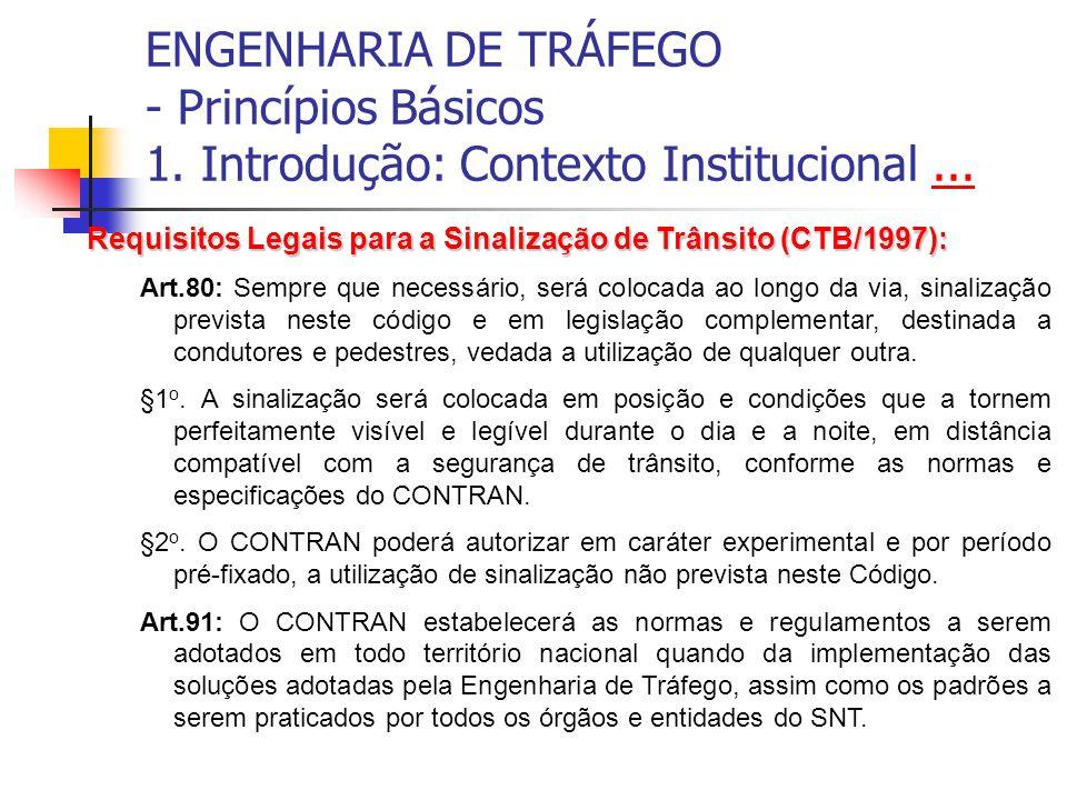 ENGENHARIA DE TRÁFEGO - Princípios Básicos 1. Introdução: Contexto Institucional...... Requisitos Legais para a Sinalização de Trânsito (CTB/1997): Ar
