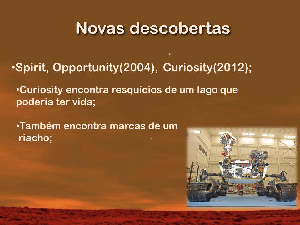 Novas descobertas Spirit, Opportunity(2004), Curiosity(2012); Curiosity encontra resquícios de um lago que poderia ter vida; Também encontra marcas de um riacho;