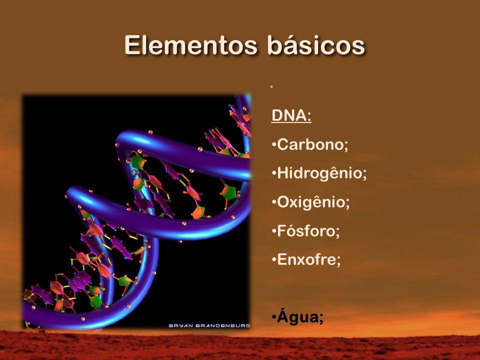 Elementos básicos DNA: Carbono; Hidrogênio; Oxigênio; Fósforo; Enxofre; Água;