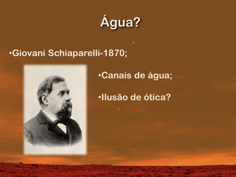 Água? Giovani Schiaparelli-1870; Canais de água; Ilusão de ótica?