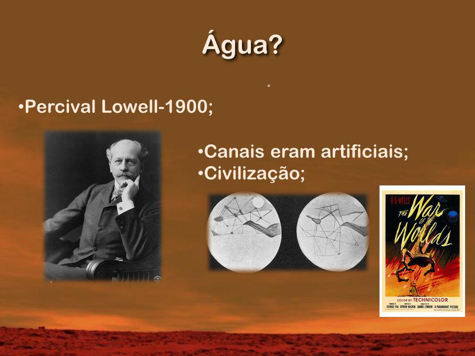 Água? Percival Lowell-1900; Canais eram artificiais; Civilização;