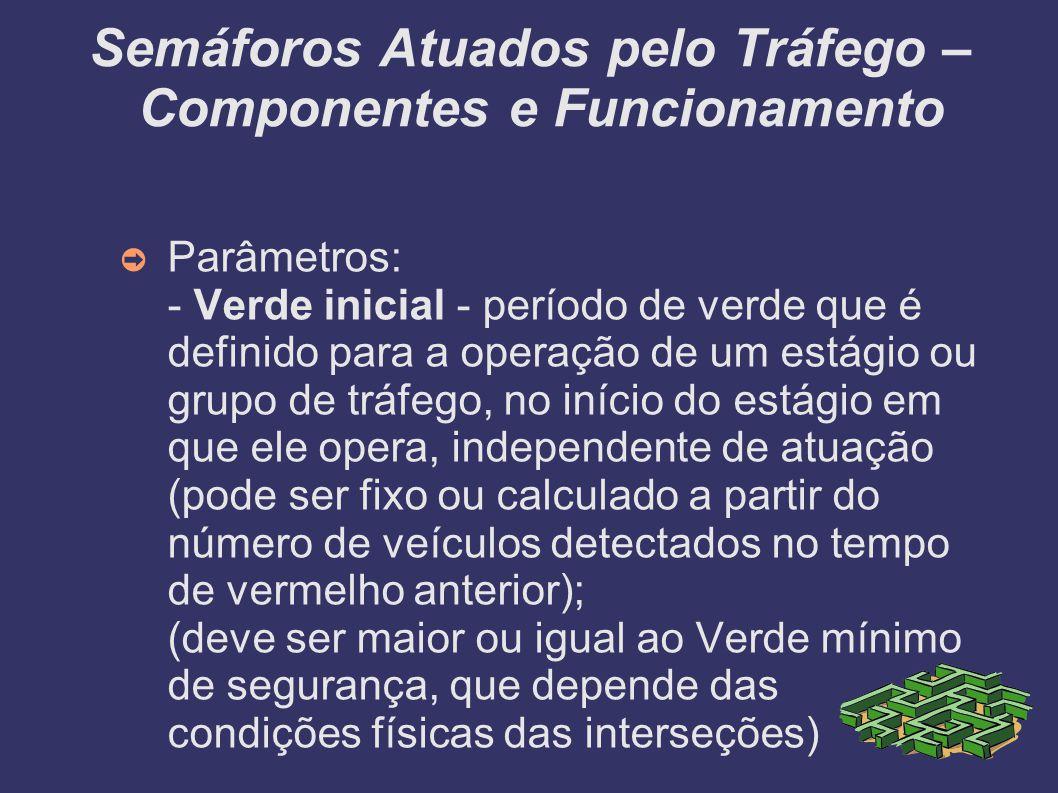 Semáforos Atuados pelo Tráfego – Componentes e Funcionamento Parâmetros: - Verde inicial - período de verde que é definido para a operação de um estág