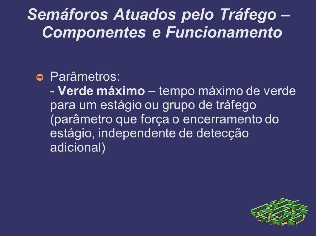 Semáforos Atuados pelo Tráfego – Componentes e Funcionamento Parâmetros: - Verde máximo – tempo máximo de verde para um estágio ou grupo de tráfego (p