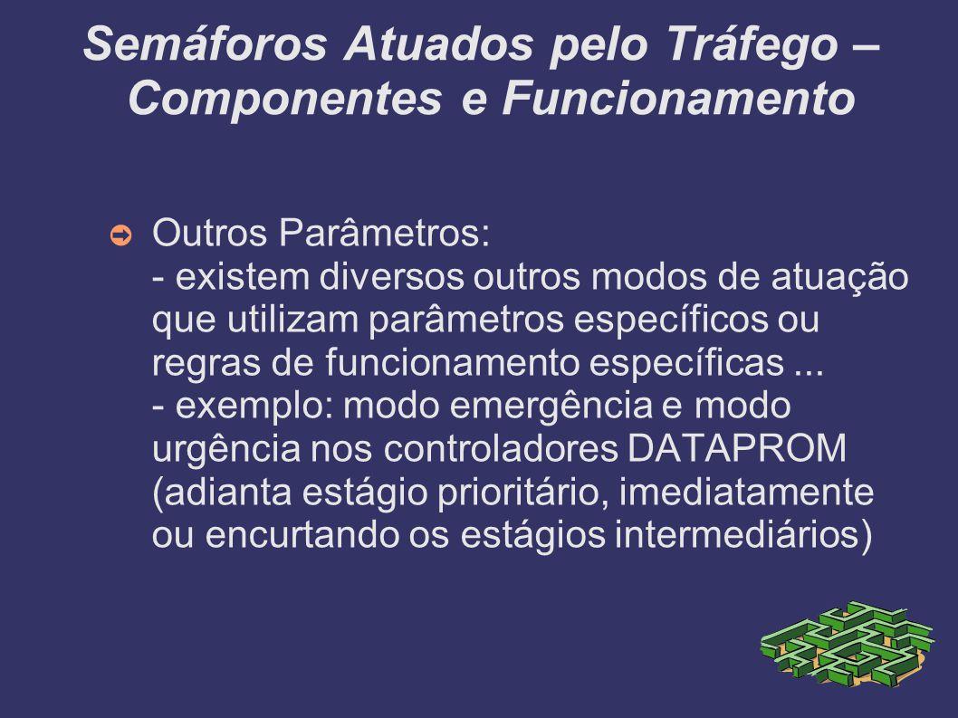 Semáforos Atuados pelo Tráfego – Componentes e Funcionamento Outros Parâmetros: - existem diversos outros modos de atuação que utilizam parâmetros esp